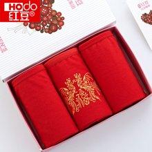 红豆女士喜庆鸿运大红三角内裤HD9005