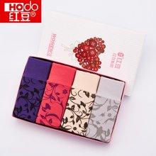 【四条装】Hodo/红豆 女士棉质中腰印花收腹舒适透气平角内裤礼盒4条装HD9011