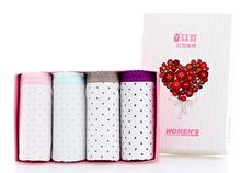 【四条装】Hodo/红豆 女纯棉圆点印花性感可爱低腰三角内裤4条礼盒装HD9006