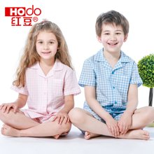 红豆童装儿童睡衣纯棉夏季短袖家居服男孩女孩短袖套装薄款 HD6J109A