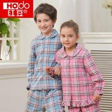 红豆童装儿童棉春夏格纹中大童男童女童空调服童装睡衣家居服套装 HD6J113/HD6J116