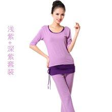 兰博伊人新款瑜伽服三件套女中袖时尚正反穿愈加服健身服L005+L003+B002