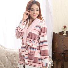 【预售】极有家冬季法兰绒睡袍女士浴袍珊瑚绒加厚睡袍家居服*E169012