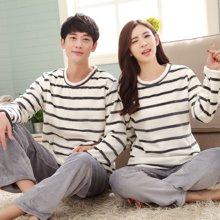 极有家韩版秋冬季珊瑚绒情侣睡衣卡通男女加厚保暖家居服套装*A169010