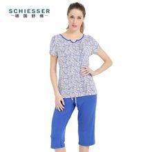 Schiesser/舒雅 【新品】女士莫代尔V领短袖七分裤套装 31/9304H