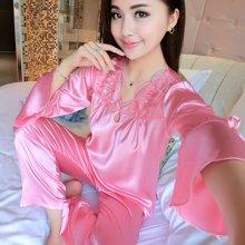 极有家丝质长袖衣裤套装蕾丝绸春夏性感丝绸居家.N171006