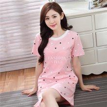 极有家棉睡裙女卡通少女士棉短袖睡衣中裙韩版.N171010