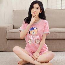 极有家卡通短袖短裤睡衣女夏季棉女士甜美家居服套装.N171022