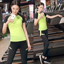 兰博伊人2017新款瑜伽服套装夏季跑步服女速干衣假两件运动服身服女 短袖+长裤