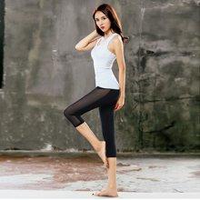 兰博伊人瑜伽服夏季运动套装女健身房跑步上衣背心网纱速干七分裤套装JL011+B011