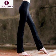 兰博伊人黑白色瑜伽裤健身裤微喇舞蹈长裤女 高腰弹力跑步运动九分裤B6018