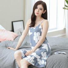 极有家韩版睡衣新款女士棉质性感吊带针织连衣裙家居服睡裙1710123