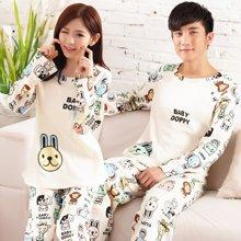 极有家情侣睡衣可爱卡通长袖男女士可外穿韩版家居服套装*B169006