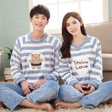 极有家秋冬季加厚情侣睡衣长袖男女套装冬款卡通珊瑚绒韩版家居服.A169002