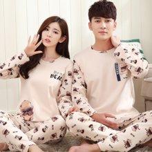 极有家情侣睡衣可爱卡通长袖男女士可外穿韩版家居服套装*B169018
