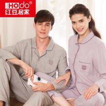 红豆情侣男女长袖春夏梭织磨毛睡衣棉质休闲家居服套装  HD-5J512