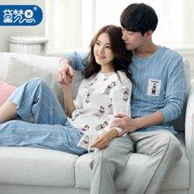 黛梦思春季长袖情侣家居服纯棉男士居家套装韩版七分袖可爱睡衣女T5253
