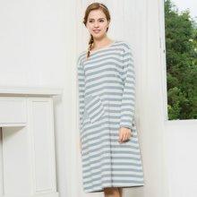 三度元春秋季女士棉质睡裙 圆领长袖条纹睡衣 拼接口袋家居服(31076)