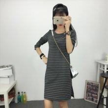 三度元春秋韩版长袖条纹睡裙外穿条纹时尚睡裙 (31034)