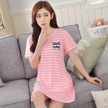 极有家韩版女士棉短袖睡裙宽松全棉睡衣.N171004