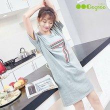 三度元性感可爱睡衣女短袖夏季纯棉加大码公主睡裙韩版中长连衣裙家居服(31124)