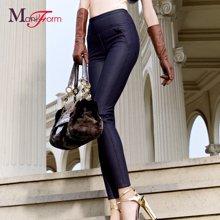 曼妮芬经典加厚加绒 可外穿牛仔高腰保暖裤20110037