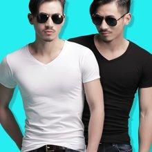 【两件装】俞兆林V领纯色时尚罗纹短袖衫男士T恤 打底衫 YZL710002