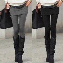 尼特名 新款韩版女装假两件长裤保暖裙裤显瘦外穿女士打底裤 J9037