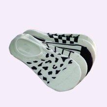 俞兆林  [5双混色装]白色系时尚千鸟格元素风格女士隐形袜棉质透气吸汗隐形袜 YZLWS0115TH