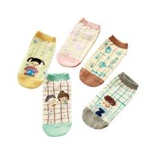 【五条装】俞兆林 方格小插画女船袜 五双装棉袜WS0426