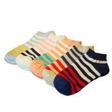 俞兆林 [5双混色装]学院风撞色条纹女袜透气吸汗棉休闲四季船袜棉质女袜 YZL420701TH