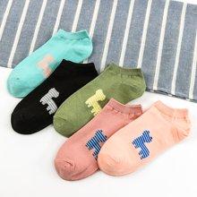 【五双装】库依娜新款女袜子短筒袜夏季可爱女士河马卡通学院风船袜浅口袜AK2071-河马