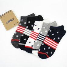 【五双装】库依娜新款春夏浅口袜社会人袜子五角星美国国旗条纹星星船袜AK2025
