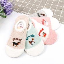 【五双装】库依娜新款新款卡通动物透气短筒女袜夏薄款甜美可爱卡通袜子AK2085
