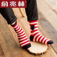 【中筒袜五条装】俞兆林 彩色条纹中筒袜 男士口袋图案棉袜  YZL410548