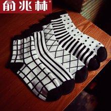 【中筒袜五条装】俞兆林 学院风男士中筒袜 男士千鸟格图案中筒袜 YZL410547