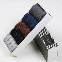 【五条装】俞兆林棉袜子男袜细线菱形 棉袜  礼盒5双混色装 MM0024