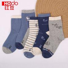 红豆男童袜棉质中筒袜春秋薄款短袜子中大童学生宝宝卡通可爱小孩袜子 H8W703