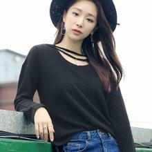 韩都衣舍2017韩版女装春装新款打底衫宽松上衣长袖潮T恤
