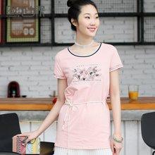 熙世界短袖中长款T恤女夏装新款宽松圆领刺绣上衣女102ST206
