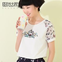 熙世界修身短袖白色T恤女夏装新款圆领韩版上衣女装102ST056
