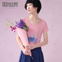 熙世界夏季新款棉质修身印花T恤简约圆领短袖上衣女192ST489