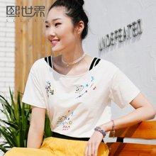 熙世界白色短袖T恤女夏装新款宽松刺绣一字领韩版女102ST182