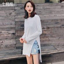 新品 七格格韩版纯色中长款开叉圆领长袖不规则打底衫宽松T恤女