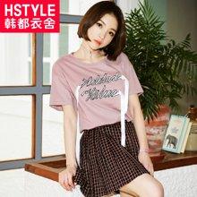 韩都衣舍2018韩版女装夏装新款显瘦字母刺绣织带短袖T恤HH7256堯