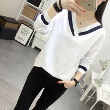 植木直t恤女款宽松显瘦上衣长袖v领打底衫韩版.J1609036