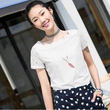 熙世界短袖圆领白色T恤女2018夏装新款大码蕾丝上衣女装102ST202