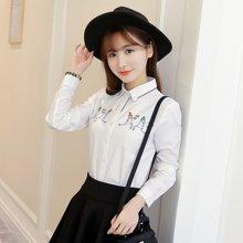 百依恋歌 春季新品女士印花长袖衬衫POLO领甜美上衣衬衣女 8510