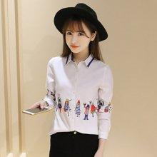 百依恋歌 春季新款女装宽松纯棉白衬衣韩版中长款卡通长袖衬衫 8512