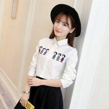 百依恋歌 春季新款清新刺绣打底衫白色长袖衬衫衬衣女 8507